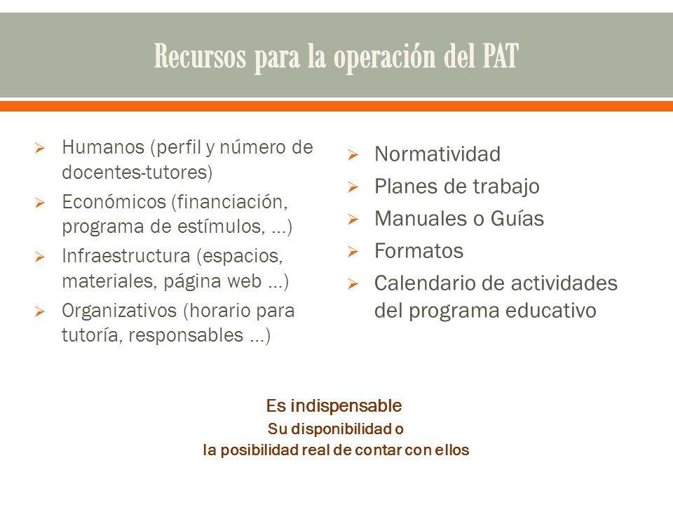 Humanos (perfil y número de docentes-tutores) Económicos (financiación, programa de estímulos, …) Infraestructura (espacios, materiales, página web …)