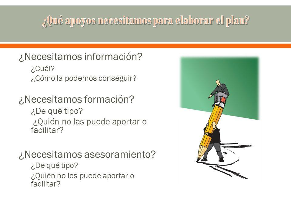 ¿Necesitamos información? ¿Cuál? ¿Cómo la podemos conseguir? ¿Necesitamos formación? ¿De qué tipo? ¿Quién no las puede aportar o facilitar? ¿Necesitam