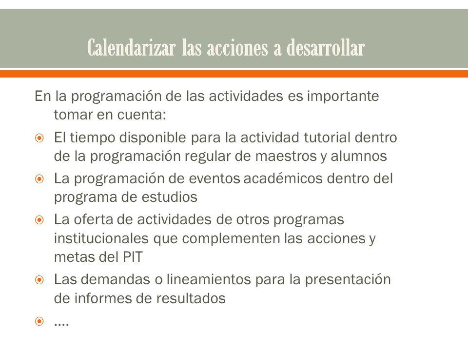 En la programación de las actividades es importante tomar en cuenta: El tiempo disponible para la actividad tutorial dentro de la programación regular