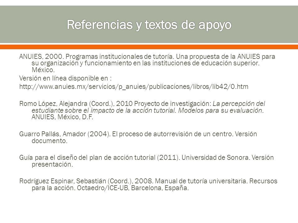 ANUIES, 2000.Programas institucionales de tutoría.