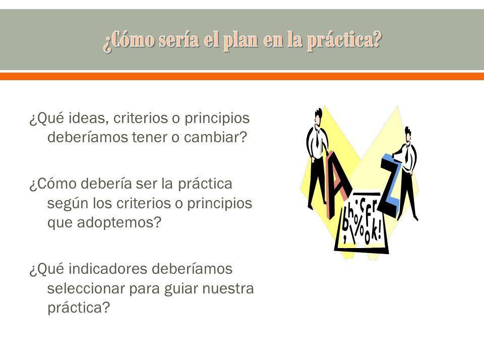 ¿Qué ideas, criterios o principios deberíamos tener o cambiar? ¿Cómo debería ser la práctica según los criterios o principios que adoptemos? ¿Qué indi