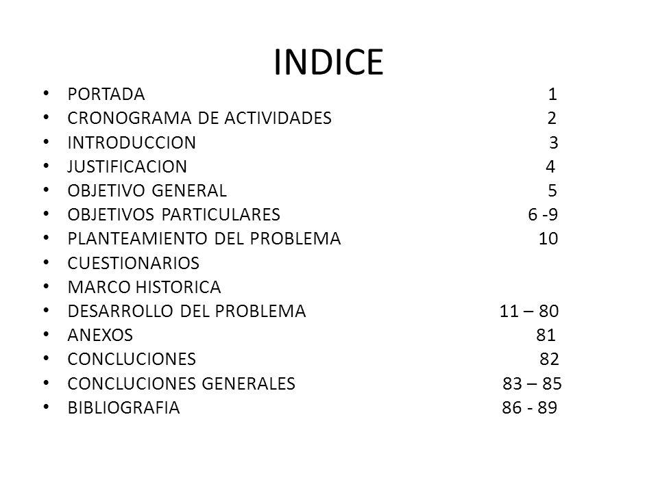 INDICE PORTADA 1 CRONOGRAMA DE ACTIVIDADES 2 INTRODUCCION 3 JUSTIFICACION 4 OBJETIVO GENERAL 5 OBJETIVOS PARTICULARES 6 -9 PLANTEAMIENTO DEL PROBLEMA 10 CUESTIONARIOS MARCO HISTORICA DESARROLLO DEL PROBLEMA 11 – 80 ANEXOS 81 CONCLUCIONES 82 CONCLUCIONES GENERALES 83 – 85 BIBLIOGRAFIA 86 - 89