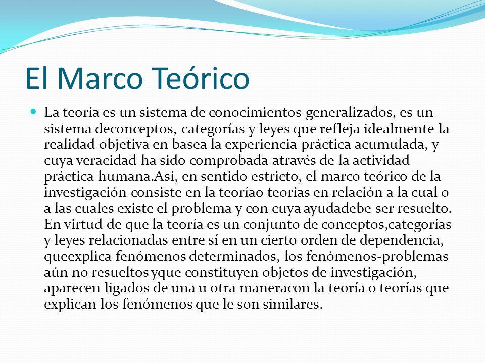 El Marco Teórico La teoría es un sistema de conocimientos generalizados, es un sistema deconceptos, categorías y leyes que refleja idealmente la reali