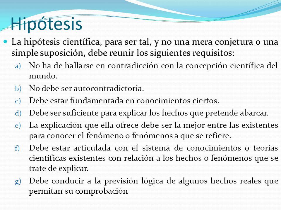 Hipótesis La hipótesis científica, para ser tal, y no una mera conjetura o una simple suposición, debe reunir los siguientes requisitos: a) No ha de h