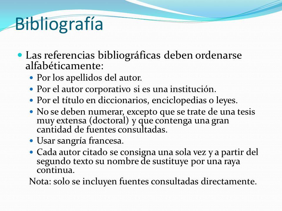 Bibliografía Las referencias bibliográficas deben ordenarse alfabéticamente: Por los apellidos del autor. Por el autor corporativo si es una instituci