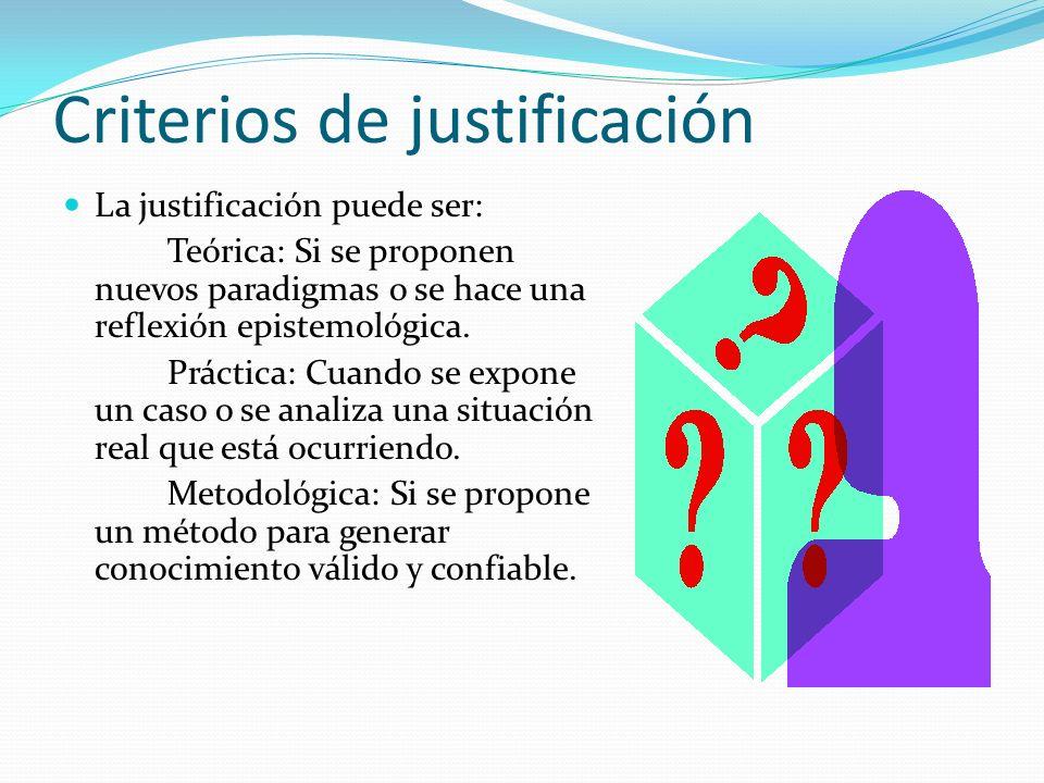 Criterios de justificación La justificación puede ser: Teórica: Si se proponen nuevos paradigmas o se hace una reflexión epistemológica. Práctica: Cua