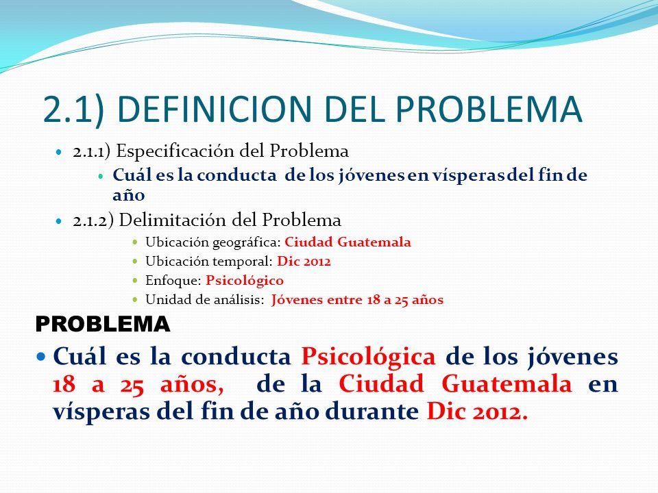 2.1) DEFINICION DEL PROBLEMA 2.1.1) Especificación del Problema Cuál es la conducta de los jóvenes en vísperas del fin de año 2.1.2) Delimitación del