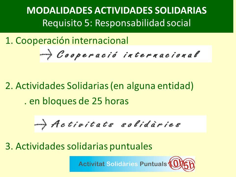 MODALIDADES ACTIVIDADES SOLIDARIAS Requisito 5: Responsabilidad social 1.