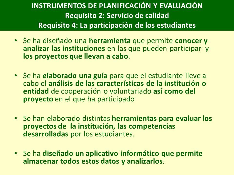INSTRUMENTOS DE PLANIFICACIÓN Y EVALUACIÓN Requisito 2: Servicio de calidad Requisito 4: La participación de los estudiantes Se ha diseñado una herramienta que permite conocer y analizar las instituciones en las que pueden participar y los proyectos que llevan a cabo.