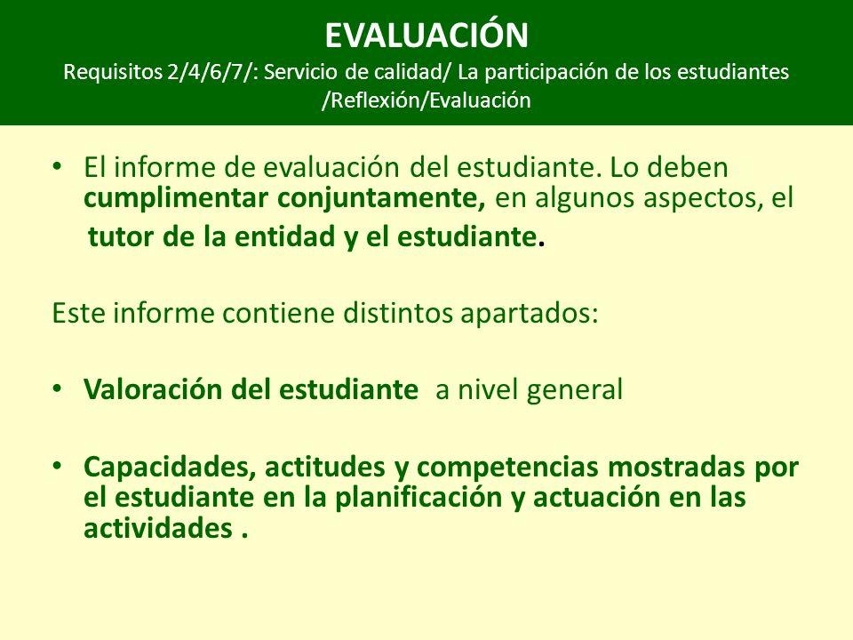 EVALUACIÓN Requisitos 2/4/6/7/: Servicio de calidad/ La participación de los estudiantes /Reflexión/Evaluación El informe de evaluación del estudiante.