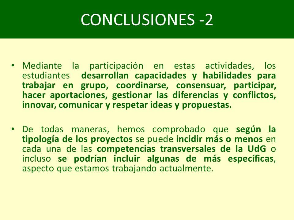 CONCLUSIONES -2 Mediante la participación en estas actividades, los estudiantes desarrollan capacidades y habilidades para trabajar en grupo, coordinarse, consensuar, participar, hacer aportaciones, gestionar las diferencias y conflictos, innovar, comunicar y respetar ideas y propuestas.
