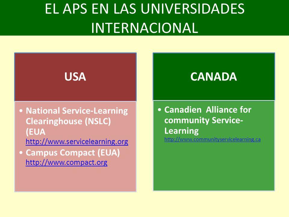 EL APS EN LAS UNIVERSIDADES INTERNACIONAL USA National Service-Learning Clearinghouse (NSLC) (EUA http://www.servicelearning.org http://www.servicelearning.org Campus Compact (EUA) http://www.compact.org http://www.compact.org CANADA Canadien Alliance for community Service- Learning http://www.communityservicelearning.ca http://www.communityservicelearning.ca
