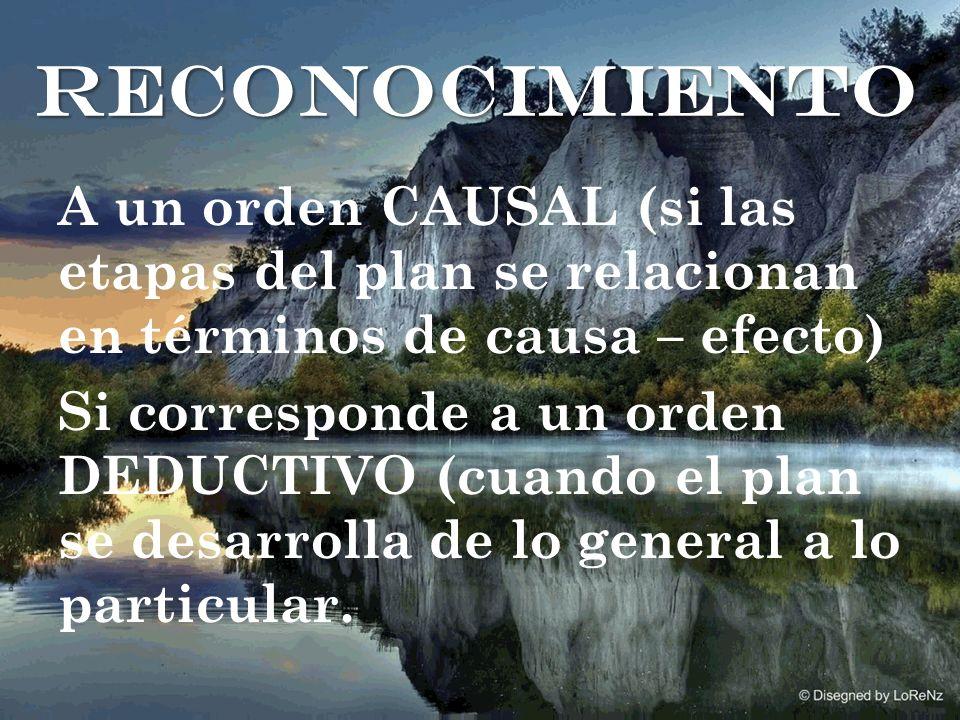 A un orden CAUSAL (si las etapas del plan se relacionan en términos de causa – efecto) Si corresponde a un orden DEDUCTIVO (cuando el plan se desarrolla de lo general a lo particular.
