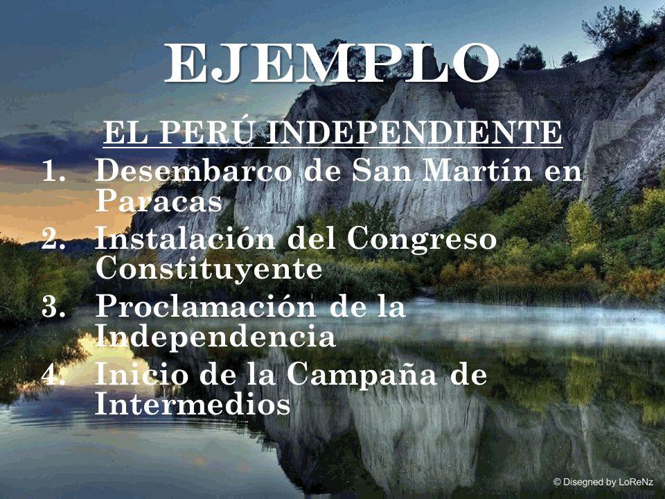 EL PERÚ INDEPENDIENTE 1.Desembarco de San Martín en Paracas 2.Instalación del Congreso Constituyente 3.Proclamación de la Independencia 4.Inicio de la Campaña de Intermedios ejemplo