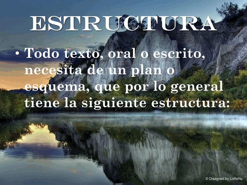 Todo texto, oral o escrito, necesita de un plan o esquema, que por lo general tiene la siguiente estructura: estructura