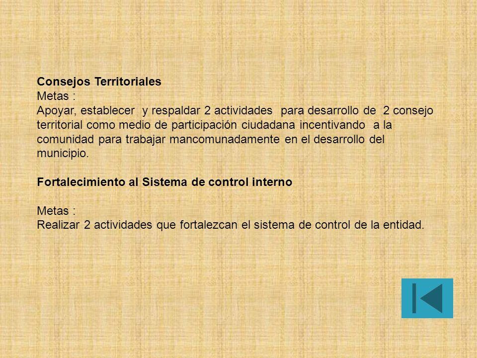 Consejos Territoriales Metas : Apoyar, establecer y respaldar 2 actividades para desarrollo de 2 consejo territorial como medio de participación ciudadana incentivando a la comunidad para trabajar mancomunadamente en el desarrollo del municipio.