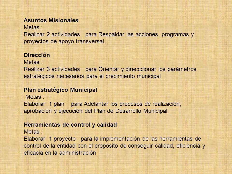 Asuntos Misionales Metas : Realizar 2 actividades para Respaldar las acciones, programas y proyectos de apoyo transversal.