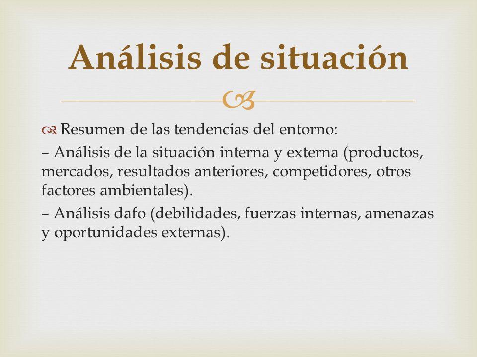Resumen de las tendencias del entorno: – Análisis de la situación interna y externa (productos, mercados, resultados anteriores, competidores, otros f