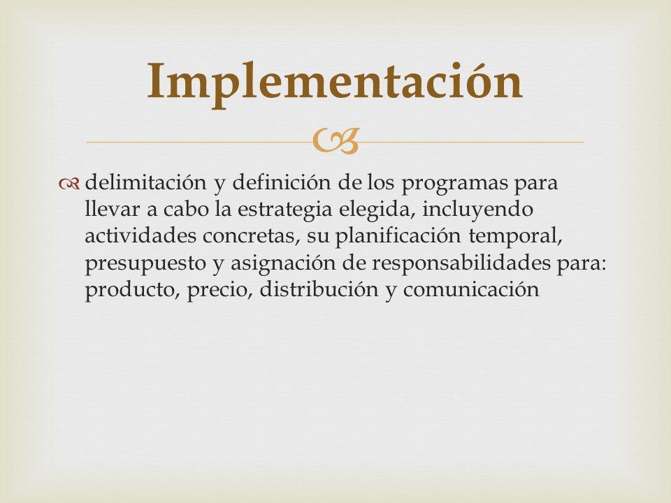 delimitación y definición de los programas para llevar a cabo la estrategia elegida, incluyendo actividades concretas, su planificación temporal, pres