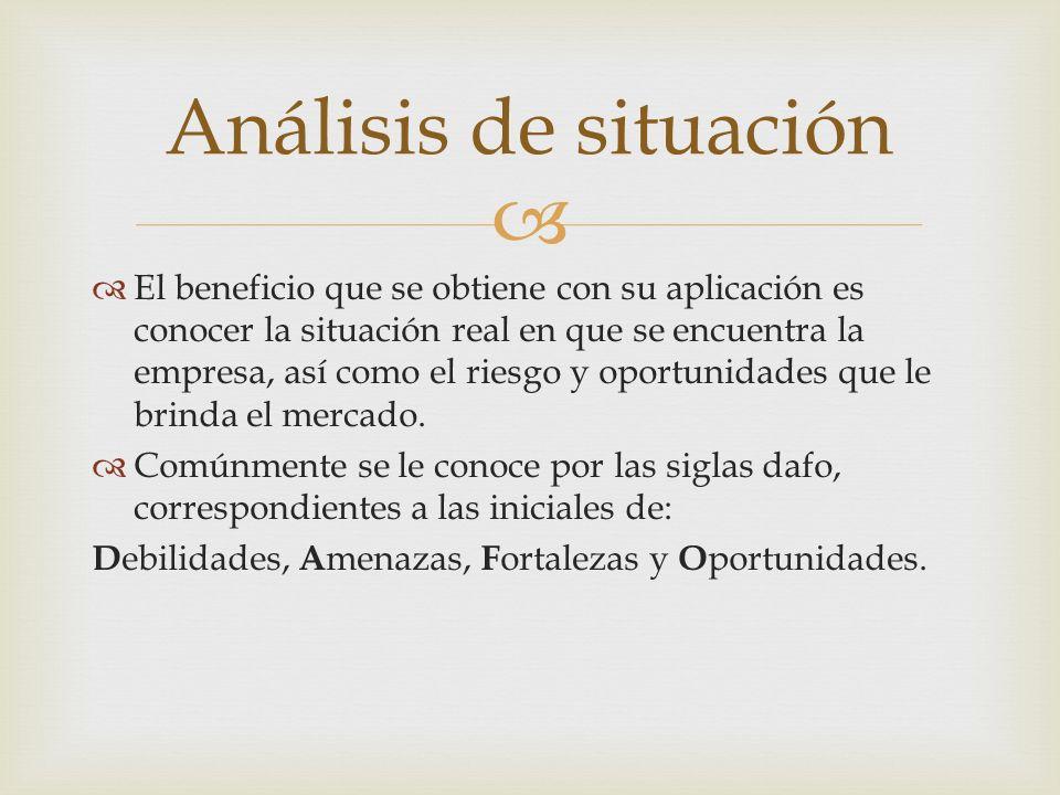 El beneficio que se obtiene con su aplicación es conocer la situación real en que se encuentra la empresa, así como el riesgo y oportunidades que le b