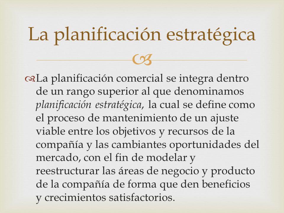 La planificación comercial se integra dentro de un rango superior al que denominamos planificación estratégica, la cual se define como el proceso de m