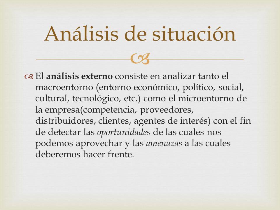 El análisis externo consiste en analizar tanto el macroentorno (entorno económico, político, social, cultural, tecnológico, etc.) como el microentorno
