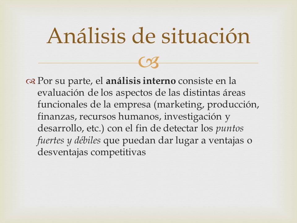 Por su parte, el análisis interno consiste en la evaluación de los aspectos de las distintas áreas funcionales de la empresa (marketing, producción, f