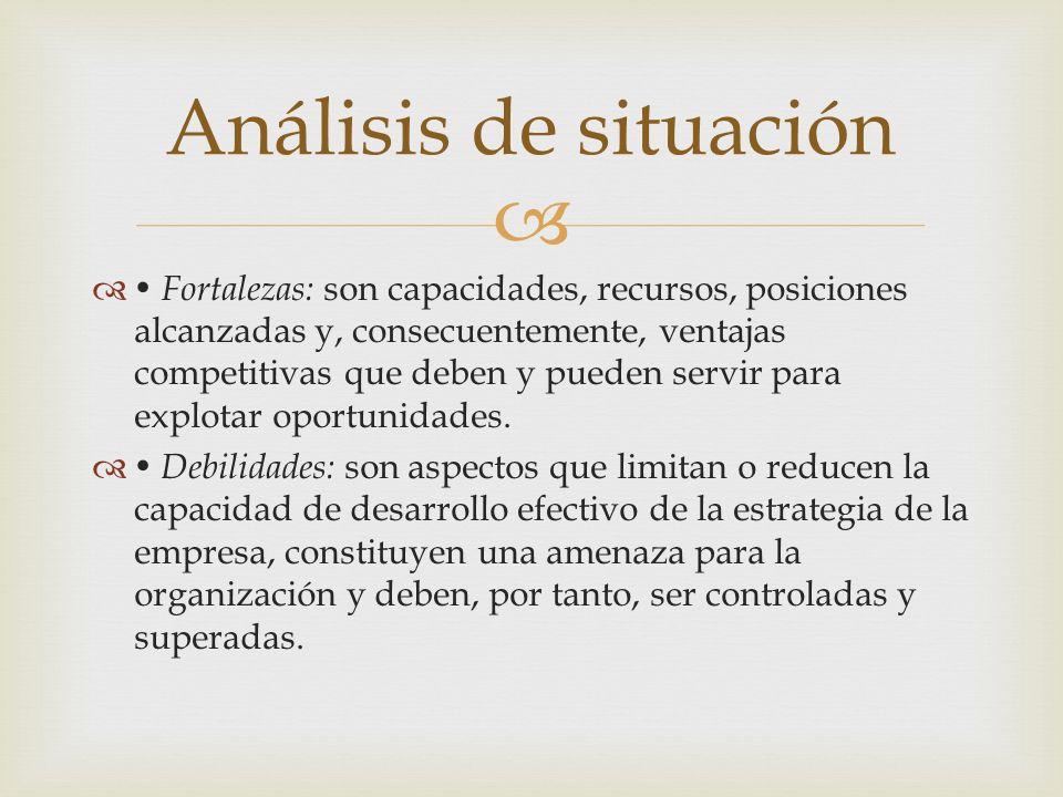 Fortalezas: son capacidades, recursos, posiciones alcanzadas y, consecuentemente, ventajas competitivas que deben y pueden servir para explotar oportu