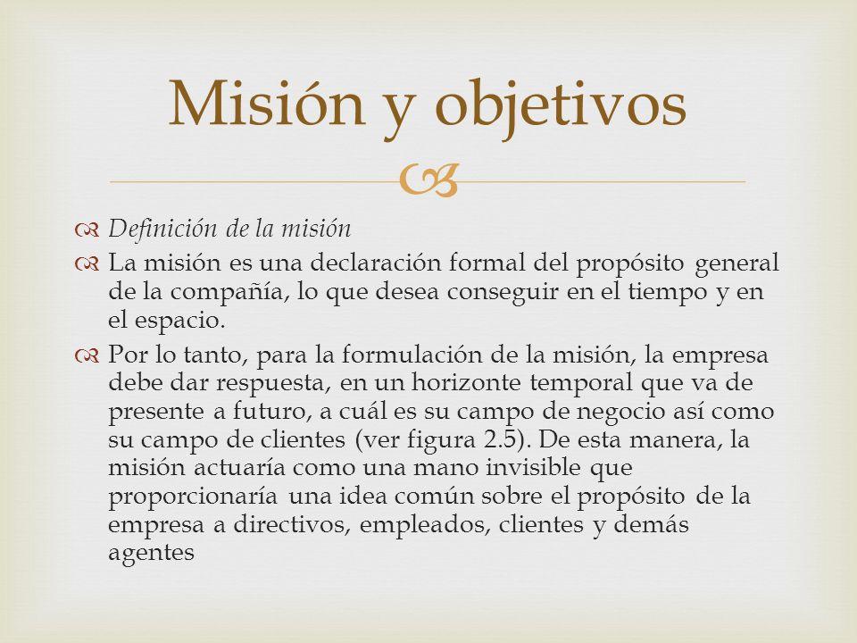 Definición de la misión La misión es una declaración formal del propósito general de la compañía, lo que desea conseguir en el tiempo y en el espacio.