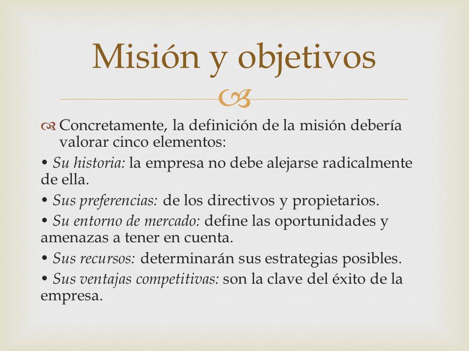 Concretamente, la definición de la misión debería valorar cinco elementos: Su historia: la empresa no debe alejarse radicalmente de ella. Sus preferen