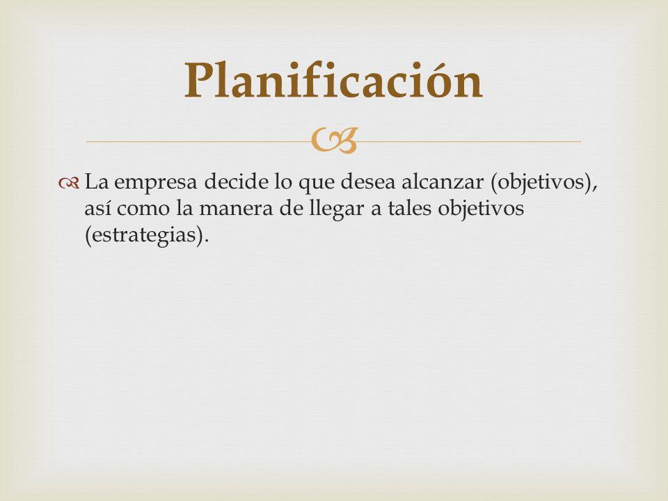 La empresa decide lo que desea alcanzar (objetivos), así como la manera de llegar a tales objetivos (estrategias). Planificación