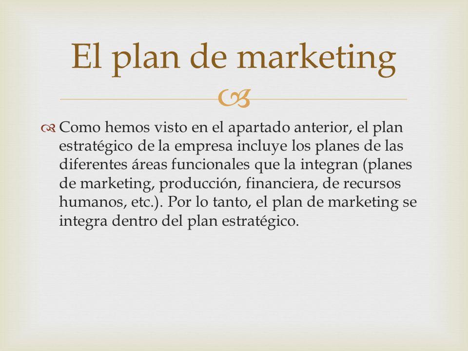 Como hemos visto en el apartado anterior, el plan estratégico de la empresa incluye los planes de las diferentes áreas funcionales que la integran (pl