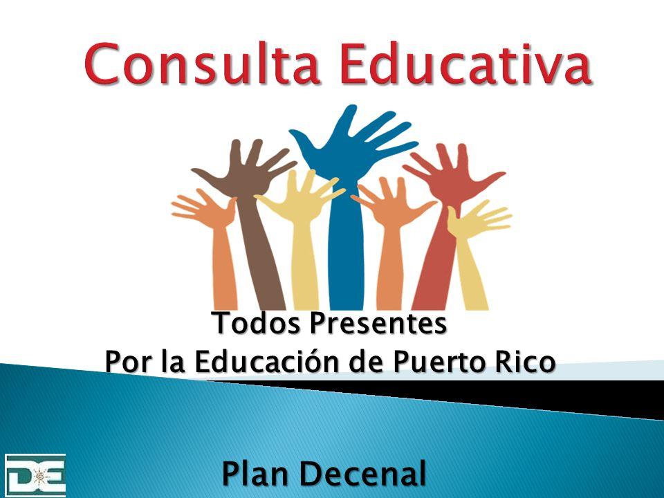 Presentar información general de la consulta: Todos presentes por la educación de Puerto Rico.