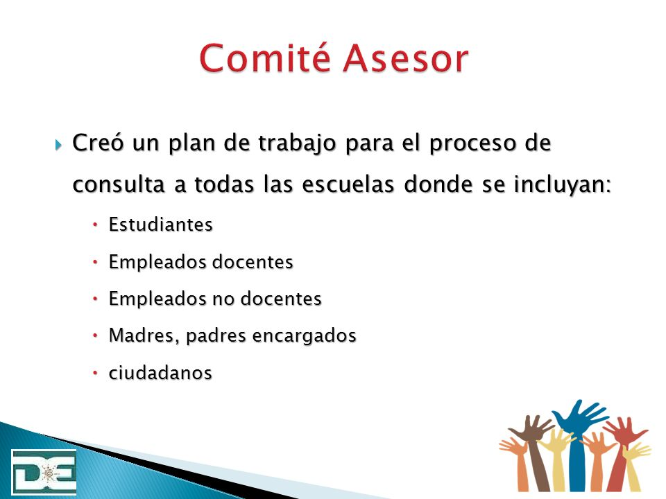 Creó un plan de trabajo para el proceso de consulta a todas las escuelas donde se incluyan: Creó un plan de trabajo para el proceso de consulta a toda