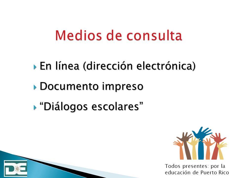 En línea (dirección electrónica) En línea (dirección electrónica) Documento impreso Documento impreso Diálogos escolares Diálogos escolares Todos pres