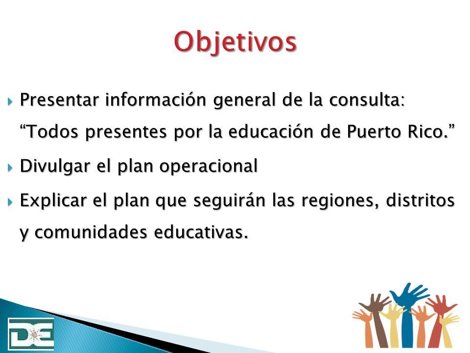 Presentar información general de la consulta: Todos presentes por la educación de Puerto Rico. Presentar información general de la consulta: Todos pre
