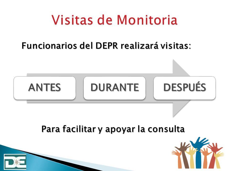 ANTESDURANTEDESPUÉS Funcionarios del DEPR realizará visitas: Para facilitar y apoyar la consulta