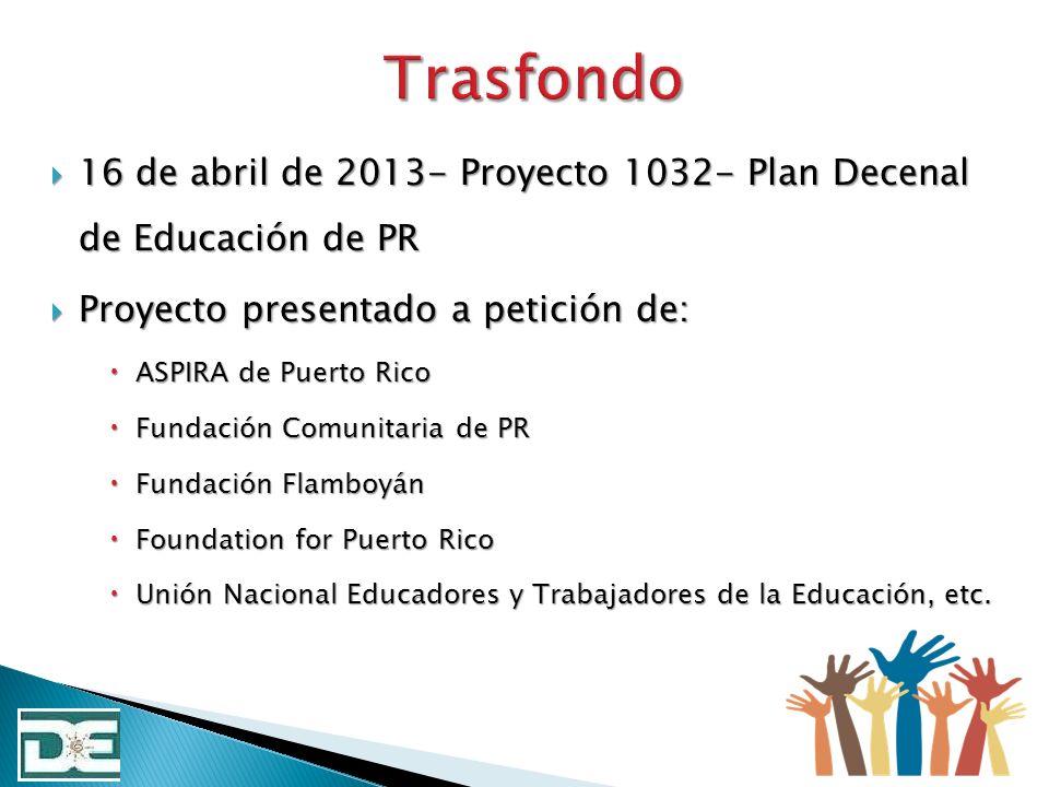 Obtener información de los diferentes componentes de la comunidades escolares de PR con el fin de crear la base de nuestro Plan Decenal.