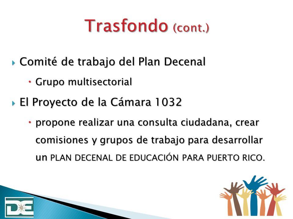 Durante el primer semestre escolar 2013-2014 se divulgará y administrará una consulta educativa al 100% de las comunidades escolares de Puerto Rico, distritos escolares, regiones educativas u oficinas centrales para identificar las necesidades y construir el Plan Decenal que regirá la educación en Puerto Rico.