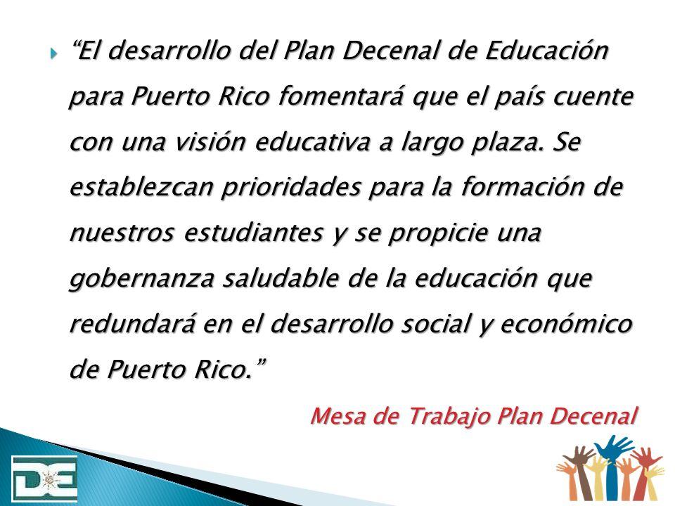 El desarrollo del Plan Decenal de Educación para Puerto Rico fomentará que el país cuente con una visión educativa a largo plaza. Se establezcan prior