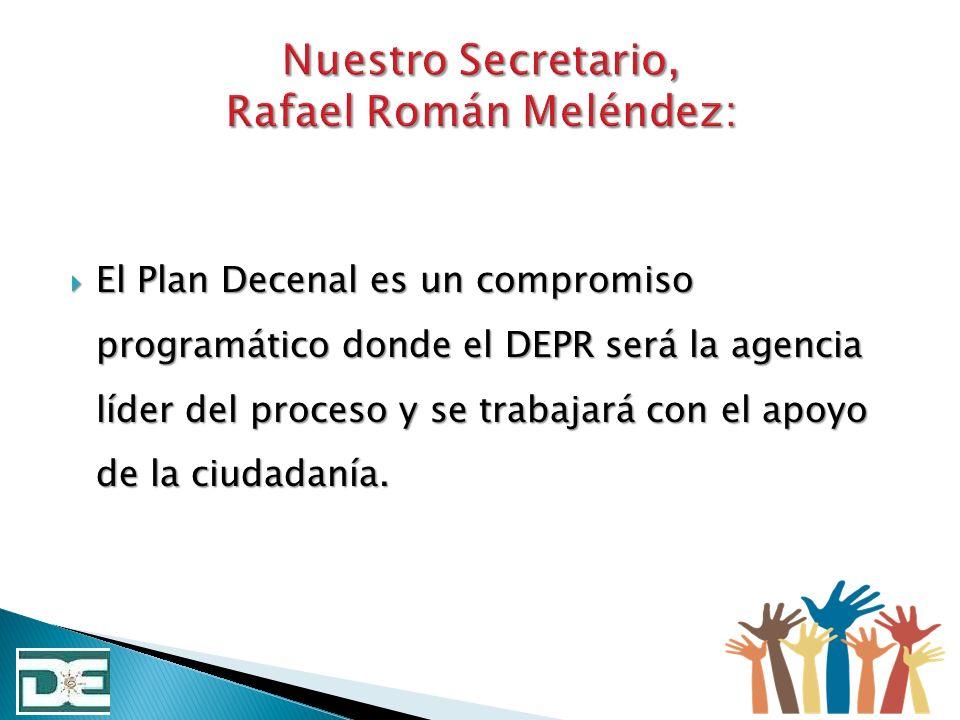 El Plan Decenal es un compromiso programático donde el DEPR será la agencia líder del proceso y se trabajará con el apoyo de la ciudadanía. El Plan De