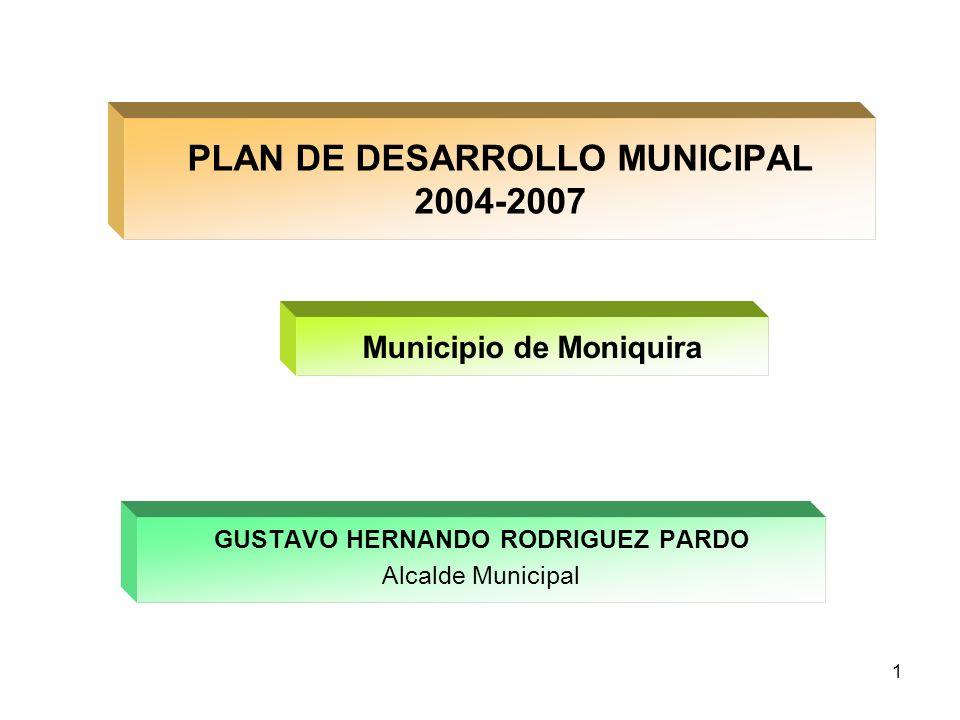 1 PLAN DE DESARROLLO MUNICIPAL 2004-2007 GUSTAVO HERNANDO RODRIGUEZ PARDO Alcalde Municipal Municipio de Moniquira