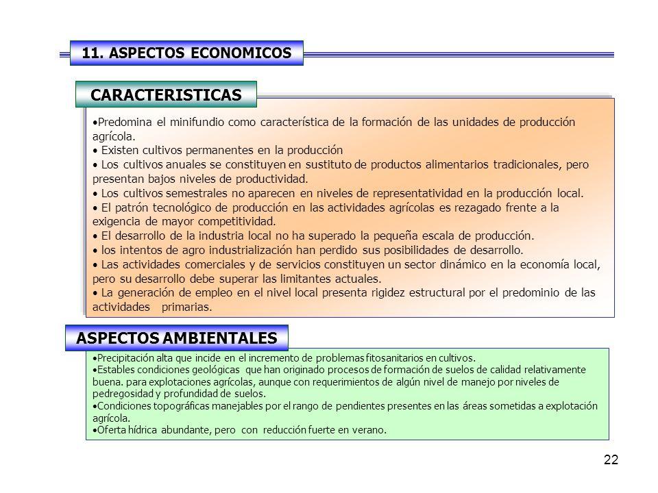 22 Predomina el minifundio como característica de la formación de las unidades de producción agrícola.
