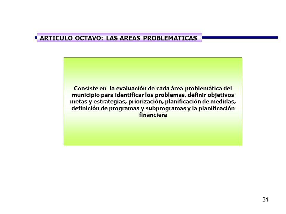 31 Consiste en la evaluación de cada área problemática del municipio para identificar los problemas, definir objetivos metas y estrategias, priorización, planificación de medidas, definición de programas y subprogramas y la planificación financiera ARTICULO OCTAVO: LAS AREAS PROBLEMATICAS