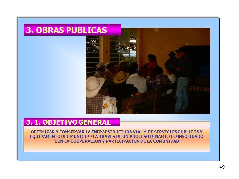 49 OPTIMIZAR Y CONSERVAR LA INFRAESTRUCTURA VIAL Y DE SERVICIOS PUBLICOS Y EQUIPAMENTO DEL MUNICIPIO A TRAVES DE UN PROCESO DINAMICO CONSOLIDADO CON LA COOPERACION Y PARTICIPACION DE LA COMUNIDAD 3.
