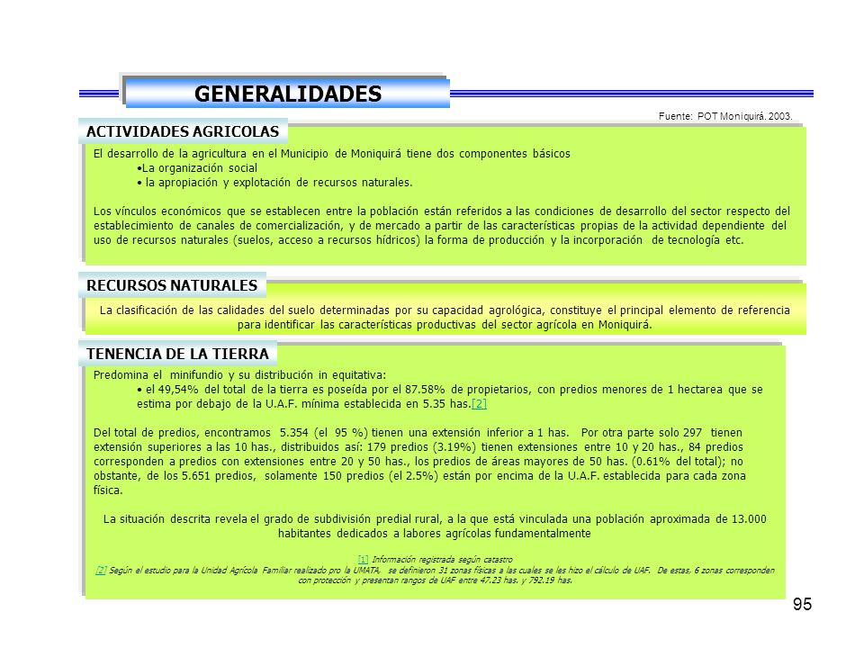 94 GENERALIDADES Finalmente, Moniquirá y Barbosa, que se localizan en el séptimo nivel de jerarquía nodal, e integrados funcionalmente a Bucaramanga y