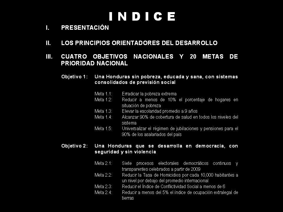 OBJETIVO 4 Un Estado moderno, eficiente y competitivo Visión: Para el año 2038, Honduras tendrá un Gobierno moderno, normador y eficiente, descentralizado a nivel municipal, evolucionado en términos de facilitación administrativa y consolidado en términos de seguridad jurídica para ciudadanos, empresas e inversionistas.