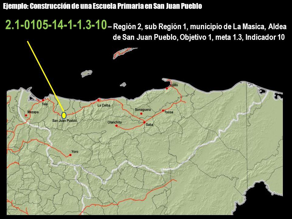 2.1-0105-14-1-1.3-10 – Región 2, sub Región 1, municipio de La Masica, Aldea de San Juan Pueblo, Objetivo 1, meta 1.3, Indicador 10 Ejemplo: Construcc
