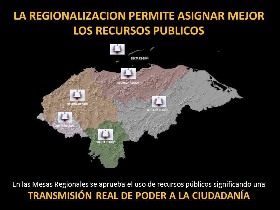 LA REGIONALIZACION PERMITE ASIGNAR MEJOR LOS RECURSOS PUBLICOS En las Mesas Regionales se aprueba el uso de recursos públicos significando una TRANSMI