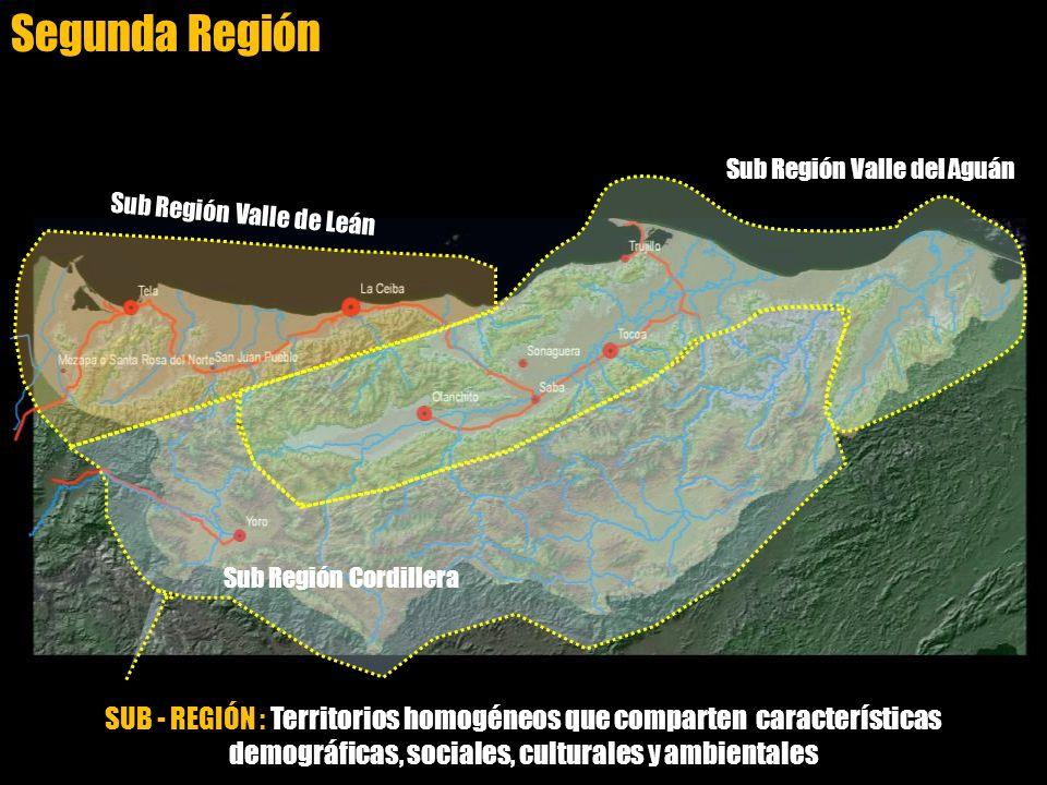 SUB - REGIÓN : Territorios homogéneos que comparten características demográficas, sociales, culturales y ambientales Sub Región Valle de Leán Sub Regi